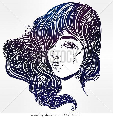 The face of a girl with the sky full of stars in her hair. Female portrait or magic night fairy. Isolated vector illustration. Fantasy, spirituality, occultism, tattoo, coloring books. Trendy print.