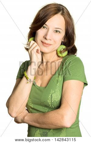 Woman - mature beauty 40s on white