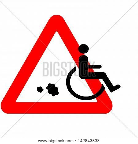 Funny Warning Road Sign Wheelchair Icon Riding Away With Speed Isolated On White