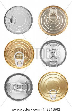 Set of Food can isolated on white background