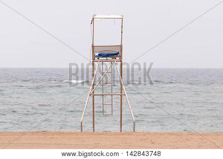 Lifeguard Post Facing The Sea