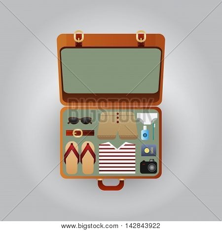 Open suitcase with clothes for the beach vector illustration.