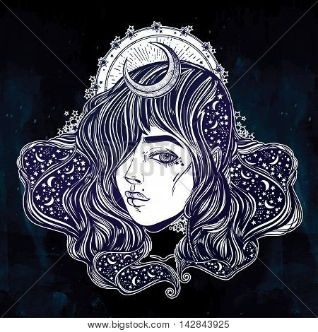 The face of a girl with the sky full of stars in her hair. Female portrait or night goddess with a moon crown. Isolated vector illustration. Fantasy, spirituality, occultism, tattoo. Trendy print.