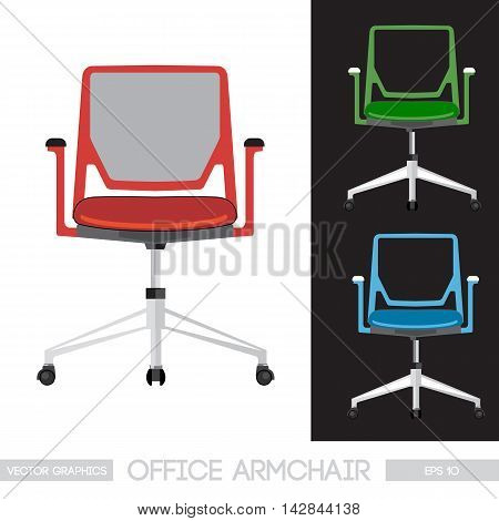 Office armchair set, green, red and blue. Digital vector image