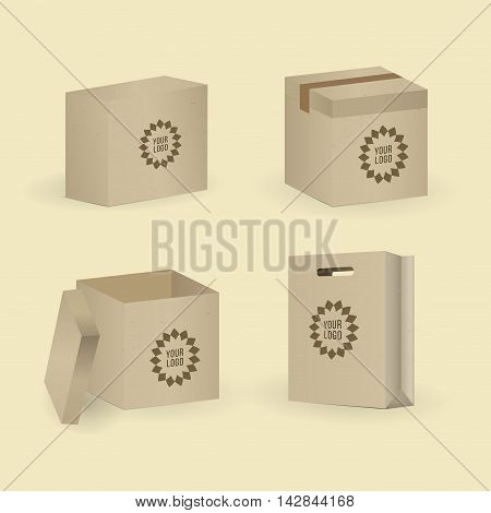 Box and package set. Vector illustration. Kraft style.
