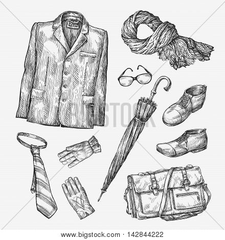 Fashion. Vector collection of men clothing. Hand drawn sketch umbrella, tie, shoes, glasses, gloves, bag scarf jacket