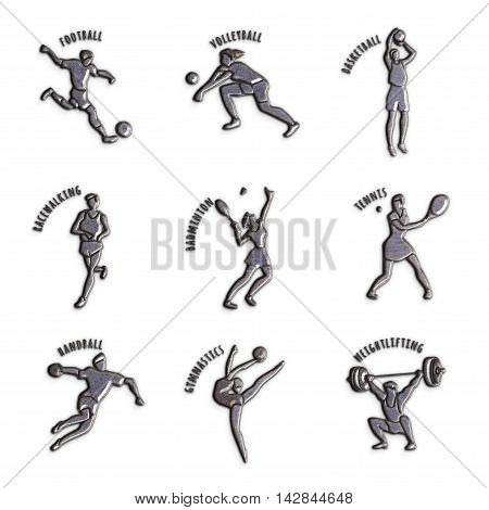 Athlete Icon. Silver sport icons with sportsmen for any competition or championship design isolated on white background. Set of summer games icons. Original 3D Illustration metal texture