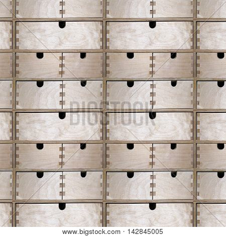 Seamless pattern of wooden drawers cupboard, tileable pattern