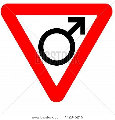 Funny precedence road sign male gender symbol icon isolated on white