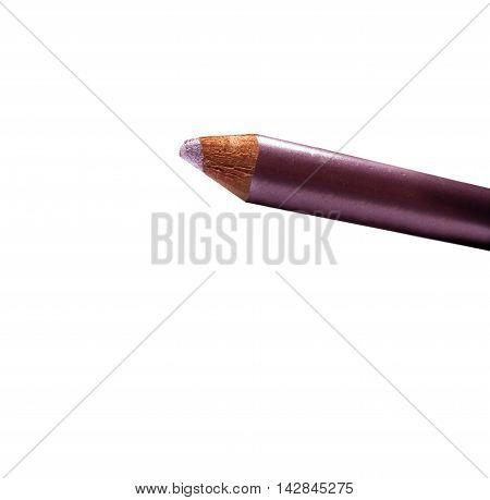 Part Of Metallic Cream Eyeshadow Pencil Pink Isolated On White