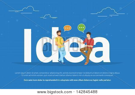 Idea concept illustration of two young men talking about new business idea. Flat people sitting on the big letters idea with speech bubbles. Business header for startup or project