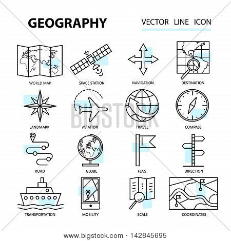 Set of modern linear icons with geography elements. Vector illustration for design.