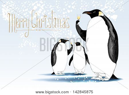 Merry Christmas vector cute greeting card. Design element seasonal illustration with penguins drinking champagne at a Christmas eve. Hand drawn lettering