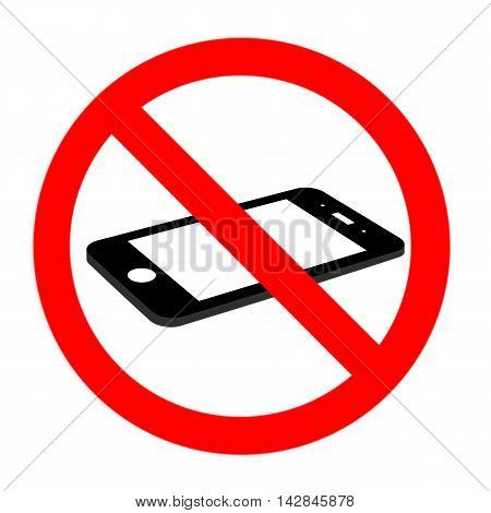 No Cell Phone Sign, Flat Cell Phone