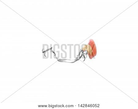 Removable partial denture on white background with room for copyspace