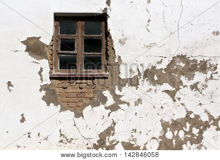 Old Window And Grungy Wall.