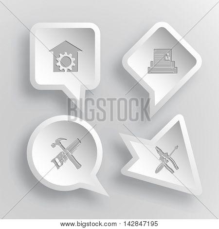 4 images: repair shop, printer, hand saw and hammer, screwdriver and combination pliers. Tehnology set. Paper stickers. Vector illustration icons.