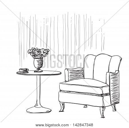 Furniture in summer cafe. Comfortable chair and table sketch