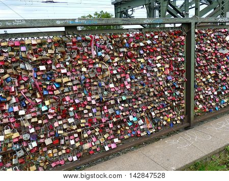 Cologne, Germany September 12, 2015: Thousands Of Love Locks Placed By Lovers To The Hohenzollern Br