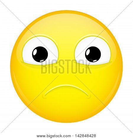 Sad emoji. Sorrow emotion. Hurt emoticon. Illustration smile icon.