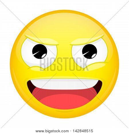 Evil emoji. Happy emotion. Laugh emoticon. Illustration smile icon.