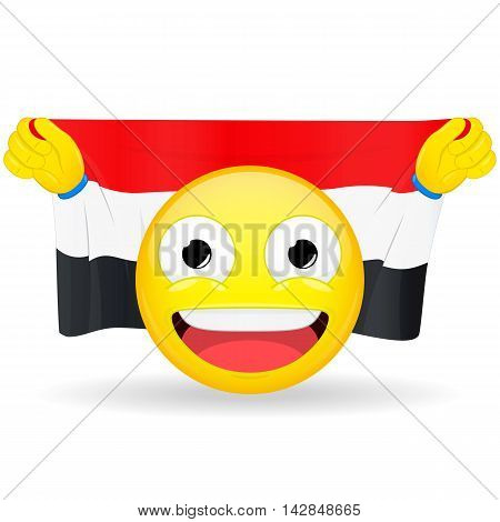 Emoji fan holds in hands flag behind his head. Egyptian Iraqi Yemenite flag. Fan cares for his country. Glory spectator bawl emotion. Exult emoticon. Buff of sports games smile illustration.
