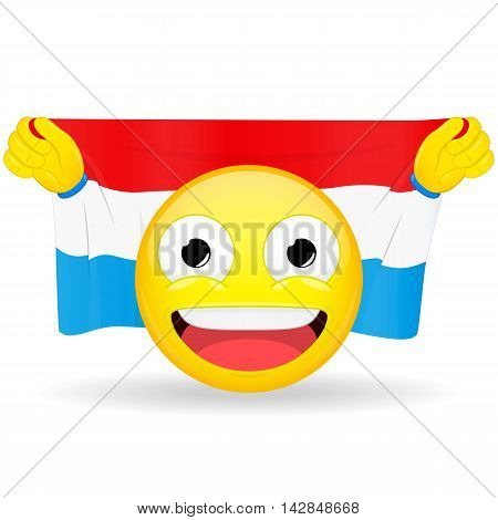 Emoji fan holds in hands flag behind his head. Luxembourg flag. Fan cares for his country. Glory spectator bawl emotion. Exult emoticon. Buff of sports games smile illustration.