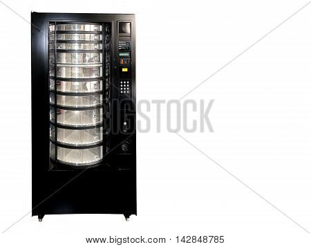 Vintage Old Empty Soda Vending Machine Isolated On White With Copy Space