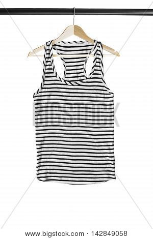 Sailor striped top on wooden clothes rack isolated over white