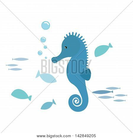 Seahorse and fishes isolated on white background. Kiddy style illustration. Vector.