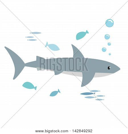 Shark and fishes isolated on white background. Kiddy style illustration. Vector.