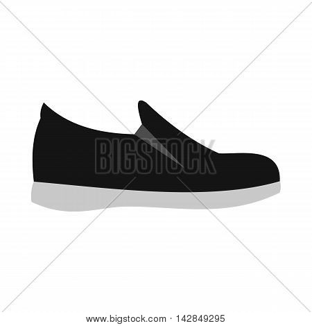 Black shoe with white sole icon in flat style on a white background
