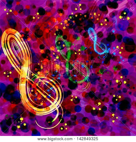 Abstract background with treble clef and rainbow splashes