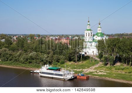 Tyumen, Russia - August 13 2016. Beautiful view to the ship and the church in the background