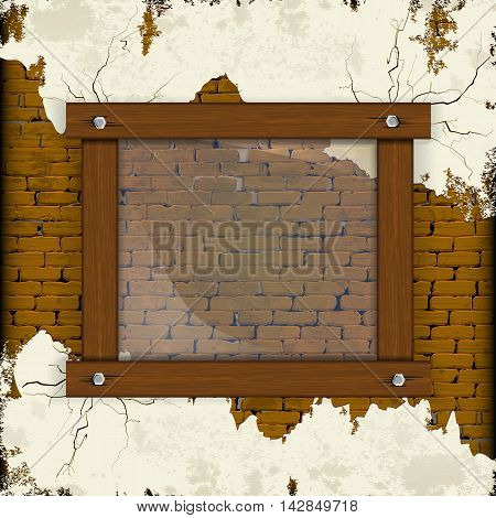 Old brick wall with plaster and wooden frame with glass. You can place any text or image.