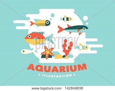Illustration aquarium with fish, flat style design