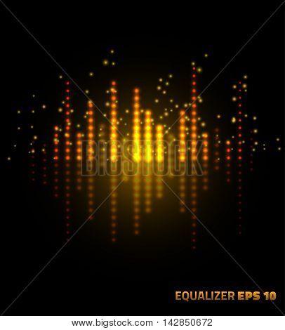 Music equalizer. Vector illustration on black background.