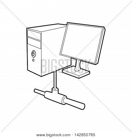 Computer monitor and cpu unit icon in outline style on a white background