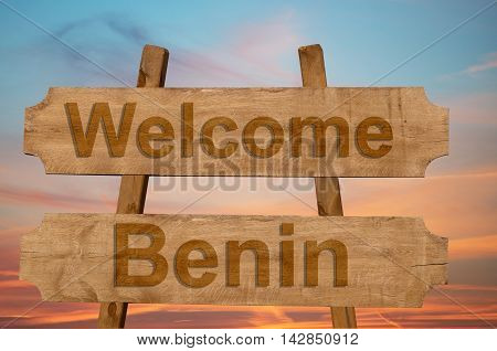 Welcome To  Benin Sing On Wood Background