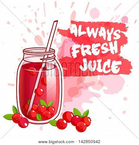 Cocktail jar with cranberry juice. Vector illustration on a white background with spots.