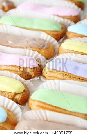 Eclairs With The Glaze Background, Close Up