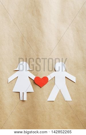 Paper People Together In Love On The Paper Background