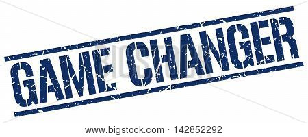 game changer stamp. blue grunge square isolated sign