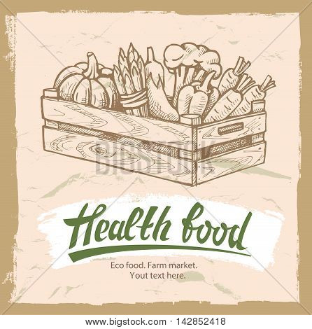 Vector illustration of wooden box with vegetables.