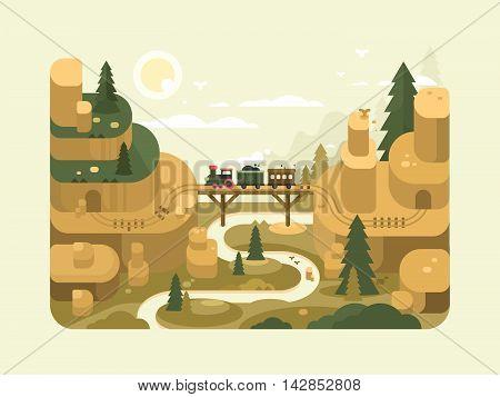 Railway flat design. Train passes over a bridge. Vector illustration