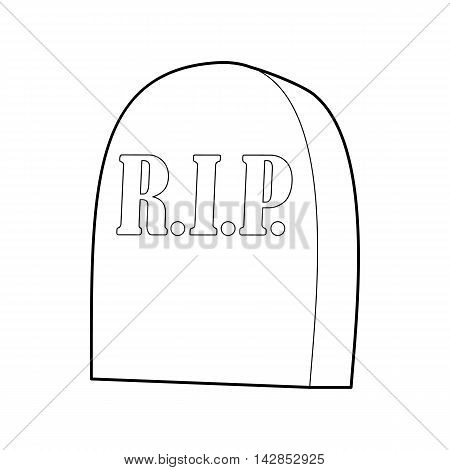 Tombstone with RIP icon in outline style on a white background