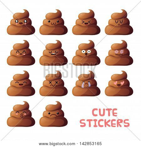 Set of cute poop pieces icons. Kawaii emoji isolated on white background.