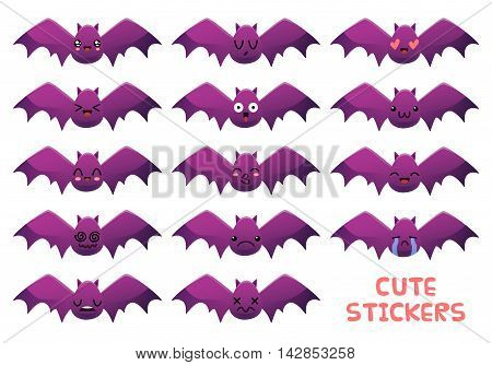 Set of cute bat emoticon stickers. Good for Halloween decoration or game design. Isolated objects on white background.