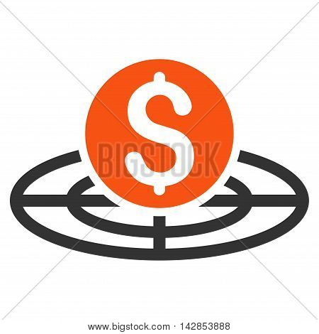 Money Crosshair icon. Glyph style is bicolor flat iconic symbol with rounded angles, orange and gray colors, white background.