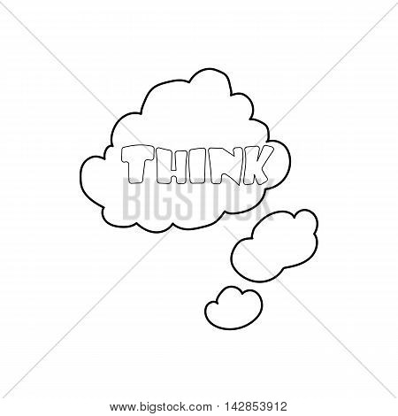 Cloud with think inscription icon in outline style on a white background